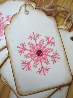 Pink Snowflake Christmas Gift Tags by CharonelDesigns on Etsy, $4.95
