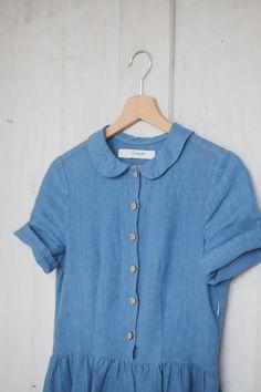 Linen Dress Blue Women Fashion Hand Made dress by SondeflorShop Linen Dresses, Blue Dresses, Loose Fit, Smock Dress, Dress Shirt, Chambray Dress, Fashion 2017, Casual Dresses For Women, Dress Making