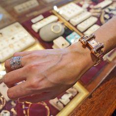 Lonville 14K Rose Gold Diamond & Ruby Retro 1940s Bracelet Watch