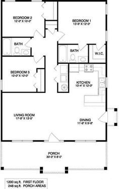 This cozy Ranch house plan has alot to offer. This floor plan features a large l… This cozy Ranch house plan has alot to offer. This floor plan features a large living room, dining area three bedrooms and two full baths. Alot of house i… Pin: 408 x 647 Small House Floor Plans, Simple House Plans, Garage House Plans, House Plans One Story, Bungalow House Plans, Ranch House Plans, Cottage House Plans, New House Plans, Square Floor Plans