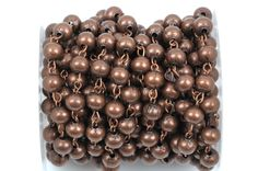 1 yard (3 feet) Copper Round Bead Chain, Rosary Chain, Metal Ball Chain Beads are 6mm  fch0364a by SmartParts on Etsy