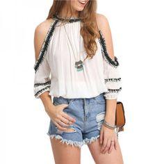 SheIn New Arrival Summer Style Women Fashion Round Neck Short Sleeve Trim Shoulder