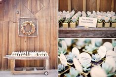 Book-themed tables and plants with escort cards. This idea may be more to my taste than the groom's .... Escort cards.