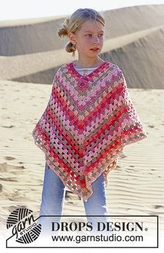 girl's crochet poncho Free Crochet Pattern - Price on landing page is for yarn, scroll down on the page to get the pattern