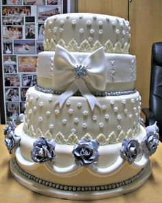Ivory, white and silver wedding cake
