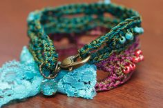 CROCHET PATTERN Crochet Bracelet Pattern Bead door thevelvetheart
