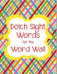 SIGHT WORDS: Bright and Colorful Word Cards {Perfect for Word Wall or Games $2.00