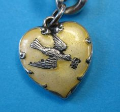 Fabulous Victorian Sterling Silver Puffy Heart Charm - Love Bird