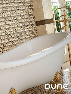 Artisan mosaic in dark brown, white and glass. Luxor, Interior S, Clawfoot Bathtub, Dune, Tiles, Neutral, Glass, Creativity, Wood