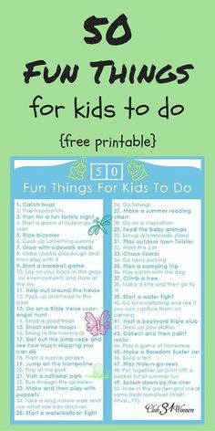 A terrific resource! Looking for some fun ideas for your kids to do? A way for them to enjoy fresh air and new adventures? (and take a break from the electronics). Here is a FREE printable of 50 Fun Things for Kids to Do! ~ Club31Women