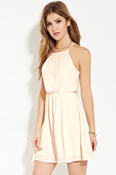 Forever 21 Pleated Cami Dress $15 : A mini cami dress crafted from a partially-lined woven with allover pleating, an elasticized waist, and a buttoned keyhole back.