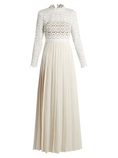Self-portrait Long-sleeved lace and crepe maxi dress
