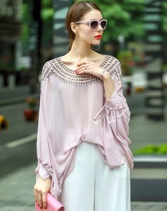 Shop LANJIAN Pink Long Sleeve Beaded Lantern Sleeve Blouse With Cami online❤ VIPme.com offers quality Blouses & Shirts from fashion designers at affordable prices.