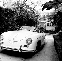 James Dean in his Porsche 356 Super Speedster, 1955.
