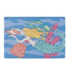 Mermaid Hooked Rug 2' x 3'