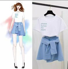Classic Solid Color T-Shirt +Mesh Skirt Set – Orchidmet Girls Fashion Clothes, Teen Fashion Outfits, Look Fashion, Stylish Outfits, Girl Fashion, Barbie Clothes, Fashion Art, Fashion Drawing Dresses, Fashion Illustration Dresses