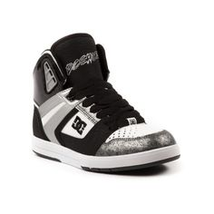 Shop for Womens DC Tres Skate Shoe in White Black Silver at Journeys Shoes. Shop today for the hottest brands in mens shoes and womens shoes at Journeys.com.New high top skate kick from DC! The Tres features a synthetic upper with detailed overlays, patent heel counter, padded tongue and collar, perforated toe panel, and rubber outsole with signature DC pill-patterned tread. Available exclusively at Journeys and Shi!