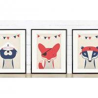 Zestaw plakatów marynistycznych, zwierzęta, 3xA4, dodatki - plakaty, ilustracje, obrazy - grafika