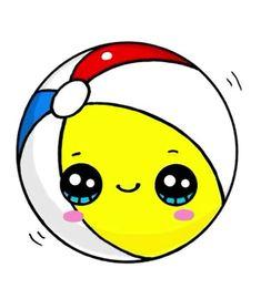 Piłka Emoji Drawings, Kawaii Girl Drawings, Sweet Drawings, Cute Food Drawings, Cute Animal Drawings Kawaii, Cute Disney Drawings, 365 Kawaii, Chibi Kawaii, Cute Kawaii Girl