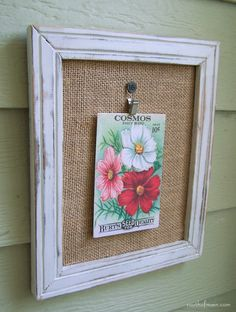 Chalkpainted frame, burlap mat and vintage inspired flower seed postcard