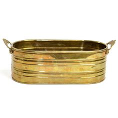 Vintage Solid Brass Oblong Planter with Side Handles: Made in India and a perfect touch of rustic elegance for any home space! Available from OneRustyNail on Etsy. ► http://www.etsy.com/shop/OneRustyNail