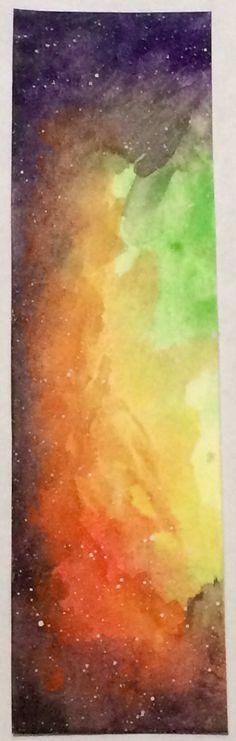 Watercolor bookmark original artwork of nebula/space