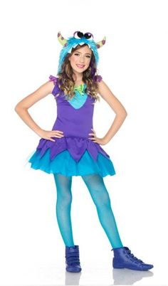 Girlu0027s Cross Eyed Monster Costume - Cross Eyed Carlie Monster Costume A furry and cute horned dancing creature! Includes Dress with layered skirt and ...  sc 1 st  Pinterest & Flirty Gerty Monster Costume | street fashion | Pinterest | Monster ...