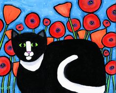 Pansy in the Poppies Tuxedo Cat ORIGINAL painting by AliceinParis
