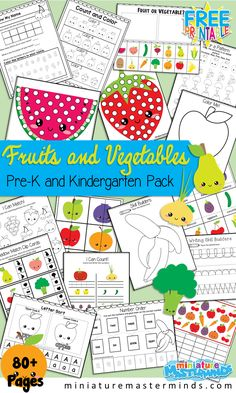 Fruits and Vegetables Preschool and Kindergarten Printable Activity Pack Pages of work sheets and activities! A fun fruit and vegetable themed pack with several different activities to practice… Preschool Food, Free Preschool, Preschool Printables, Preschool Learning, Preschool Crafts, Learning Activities, Free Printables, Preschool Centers, Preschool Classroom