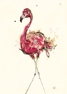 Anna Wright - Birds  Aw, I love flamingos!