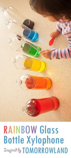 Water, glass bottles, and food coloring - make a fun DIY Rainbow Xylophone! Just 5 minutes to make this beautiful musical instrument from recycled bottles to help your little dreamer learn to become a musician. Inspired by Disney's Tomorrowland movie. DIY, Do It Yourself, #DIY