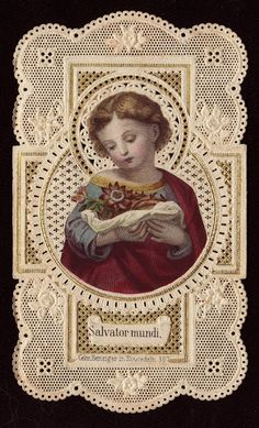 Vintage French Lace Holy Card ... Saviour Of The World