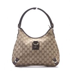 Gucci  Gucci Monogram GG Beige Ebony D-Gold Abbey Hobo Bag