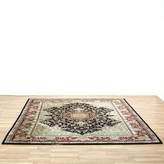 This Persian area rug is woven in a durable silk with a beige, deep red and black finish. This large rug has striped border trim, floral accents and a center curved medallion. Perfect for adding texture and pattern to a room! #americantraditional #decor #rug #sandiegovintage #vintagefurniture