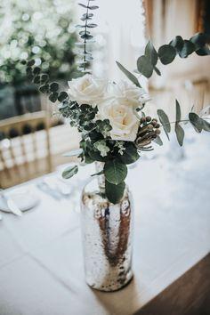 Mercury Glass Vase, Eucalyptus & White Flowers - Darina Stoda Photography | Lusan Mandongus Wedding Dress | Jenny Packham Headdress | Pastel Green & White Wedding at Mount Ephraim Gardens
