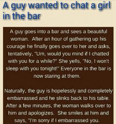 FUNNY JOKES A boy talking to a girl in the bar