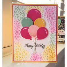 """iMakeCards... Bright sunny birthday card using stampin up balloon celebration balloon bouquet punch confetti texture impressions embossing folder"