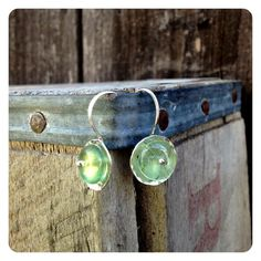 Simple Hammered Silver Green Tourmaline Earrings by jenjems, $28.00
