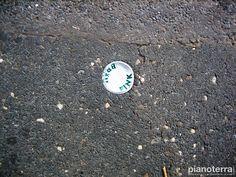 Beer cap in the asphalt. Milano.