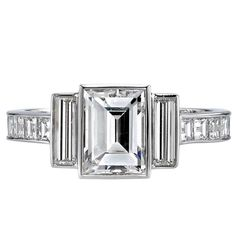 For Sale on - GIA certified Baguette Emerald cut diamond set in a handcrafted platinum mounting. A classic and sleek design featuring bezel set diamonds Platinum Engagement Rings, Deco Engagement Ring, Vintage Engagement Rings, Emerald Cut Rings, Emerald Cut Diamonds, Diamond Cuts, Art Deco Jewelry, Jewelry Rings, Vintage Jewelry