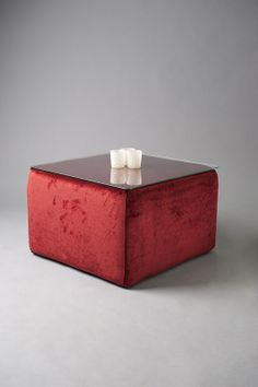 Red Pouf Table