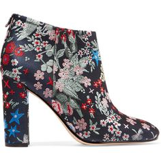 Sam Edelman Cambell floral-brocade ankle boots ($180) ❤ liked on Polyvore featuring shoes, boots, ankle booties, sam edelman, short high heel boots, ankle boots, floral booties, mid calf boots and sam edelman booties