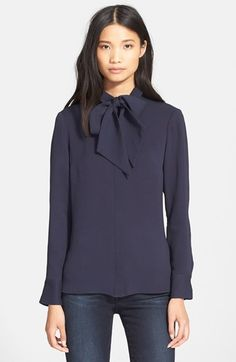 Frame Denim 'Le Bow' Tie Neck Silk Shirt available at #Nordstrom