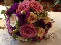 Purple bridal bouquet. Bridesmaid Bouquet, Wedding Bouquets, Wedding Flowers, Wedding Flower Packages, Groomsmen Boutonniere, Flower Packaging, Flower Making, Floral Wreath, Wreaths