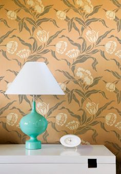 Wall Stencil Small Phoebe's Tulip Allover Floral Stencil for Wall Decor and More. $69.00, via Etsy.  color combo