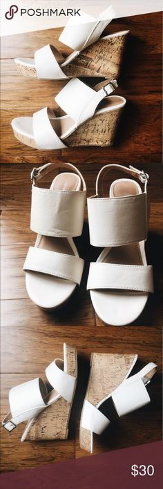 🔆 White cork wedges 🔆 Perfect condition white and cork wedges! ☀️Perfect for summer to pair with any outfit. Can be worn casually or even for a dressier occasion. These are brand new without tags and have never been worn. True to size. Happy shopping poshers!! ❤️ Apt. 9 Shoes Wedges