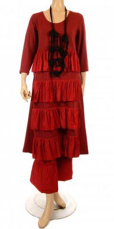Hebbeding Red Jersey & Frill Dress - Model Dickens VISIT OUR WEB STORE - www.idaretobe.com