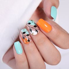 Orange Nail Art, Orange Nail Designs, Hot Nail Designs, Orange Nails, New Nail Art Design, Teal Nails, Nail Services, Nail Candy, Hot Nails