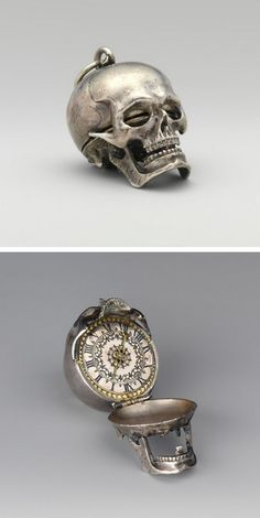 Cool pocket watch in the form of a skull, ca. Movement by Isaac Penard (Swiss, Case and dial: silver, partly nielloed, with a single silver hand; Movement: gilded brass and steel; back plate of movement Skull Jewelry, Antique Jewelry, Vintage Jewelry, Geek Jewelry, Western Jewelry, Hippie Jewelry, Gothic Jewelry, Memento Mori, Ninja Goth