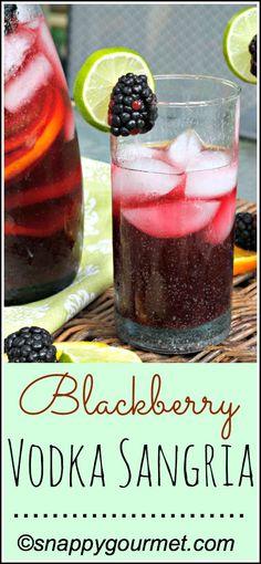 Blackberry Vodka Sangria Cocktail Recipe | snappygourmet.com